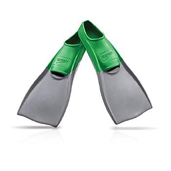 Speedo Unisex Swim Training Fins Rubber Long Blade Green/Grey S - Men s Shoe size 5-6 | Women s Shoe size 6.5-7.5