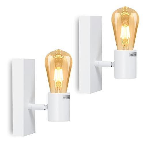 Leselux Apliques de Pared Vintage, Lámpara de Pared Blanco, Portalámparas E27, Iluminación de Pared Aplique para Pasillos...