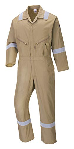 Portwest C814 Iona Cotton Heavy Duty Work Overalls with Reflective Safety Tape, Khaki, XXL
