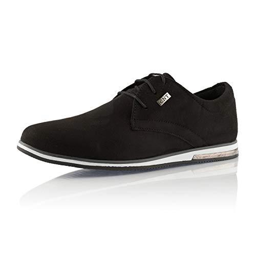 Fusskleidung® Herren Business Schuhe Casual Sneaker leichte Turnschuhe Schwarz EU 43
