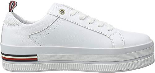 Tommy Hilfiger Damen Corporate Flatform Sneaker, Weiß (White Ybs), 42 EU