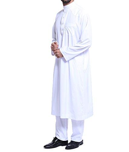 Qianliniuinc Loose Style Middle East Kaftan Dubai Arab Muslim Islamic Men's Clothing Suit Shirt Pants,White,XL