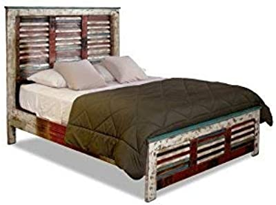 Amazon Com Crafters And Weavers La Boca Farmhouse Rustic Style Solid Wood King Size Bed With Shuttered Headboard And Footboard Kitchen Dining