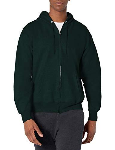 Hanes Men's Full Zip Ultimate Heavyweight Hoodie, Deep Forest, Large