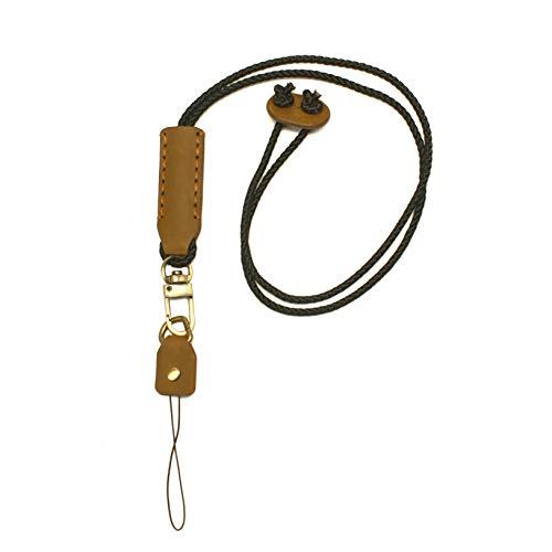 Aolaso Cordon tour de cou en cuir avec boucle détachable pour carte d'identité/badge/clés/USB/appareil photo/téléphone portable Unisexe (Marron)