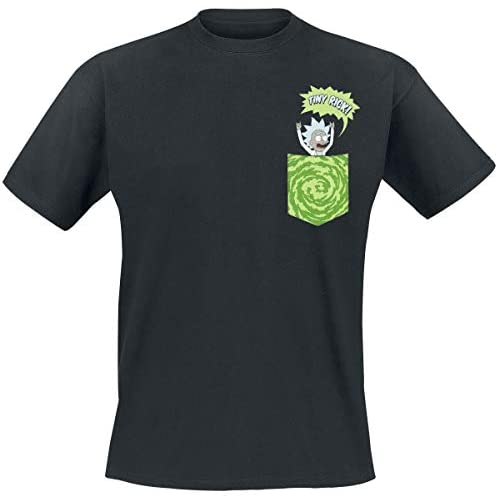 Rick and Morty Tiny Pocket Rick T-Shirt Nero L