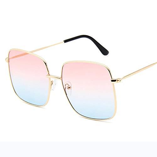 DLSM Gafas de Sol Alloy Square Gafas de Sol Mujeres Gafas de Sol para Hombres Vintage Gradiente Vintage Masculino Adecuado para al Aire Libre Senderismo Golf Sung Sung Gafasseses-Oro Rosa Dorado
