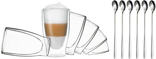 DUOS 6X 400ml doppelwandige Gläser + 6 Löffel - Set Thermogläser mit Schwebe-Effekt, auch für Latte Macchiato, Eistee, Säfte, Longdrinks, Cocktails geeignet, by Feelino