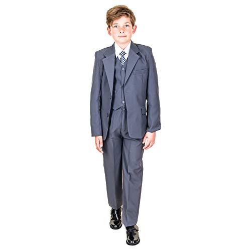 Hei Mei 5tlg. Jungen Fest Anzug Kommunionsanzug Smoking Kinderanzug für viele Festliche Anlässe M133gr Grau 14/146 / 152