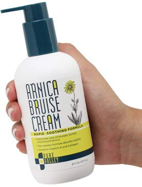Pure Valley Arnica Bruise Cream with Vitamin K, Horse Chestnut and Collagen. Large 8oz Bottle with Pump. Calms The Look of Bruises, Bumps, and Skin Discoloration.