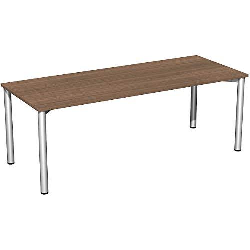 Geramöbel Konferenztisch   Rundfuß   BxTxH 2000 x 800 x 720 mm   Nussbaum-Silber