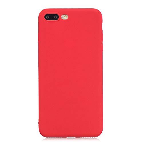 PuYu Zhe Funda Compatible con iPhone 7 Plus, Carcasa Silicona Suave Gel Rasguño y práctico Teléfono Móvil Cover Rojo