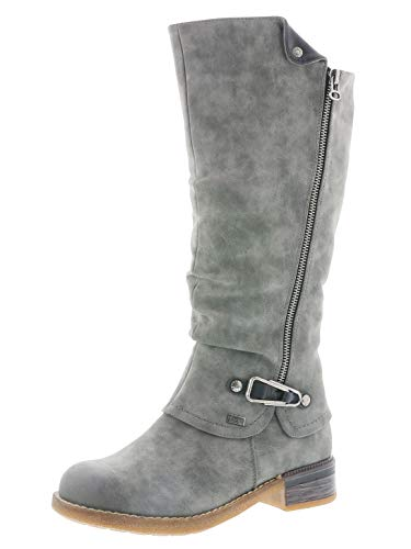 Rieker Damen Stiefel 94652, Frauen Winterstiefel,riekerTEX, Women Woman Freizeit leger Winter-Boots langschaftstiefel,Smoke,38 EU / 5 UK