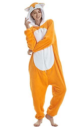 Missley Caldo Volpe Pigiama Morbido Flanella Unicorno Onesies Bello Halloween Animale Cosplay Costume Migliore Regalo per Bambini Adulti (Volpe, M)