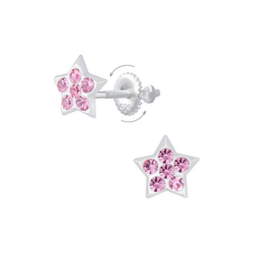 Laimons Pendientes infantiles de estrella brillante con purpurina rosa con cierre de rosca de plata de ley 925