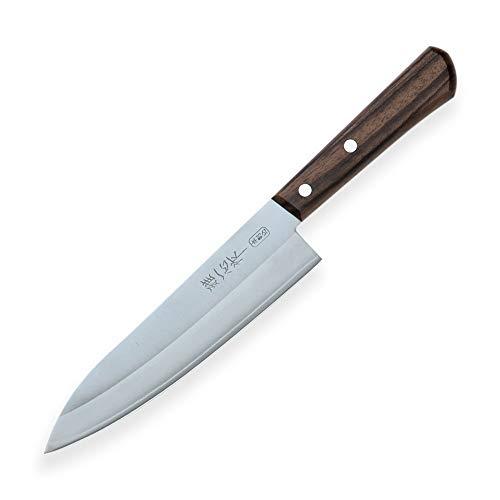 Miyabi Issin Kanetsugu Gyuto Messer & Japanischer Stahl AUS-8 & Hoher Kohlenstoff Stahl & Ergonomischer Rosen-Holz Griff, Klinge 180 mm