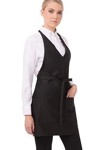 Chef Works Unisex V-Neck Tuxedo Apron, Black 32-Inch Length by 30-Inch Width