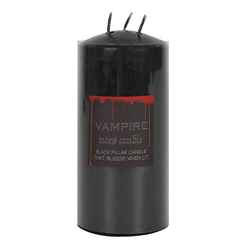 something different Vampire Tears Bleeding Red Blood Pillar Candle Black 15.5cm