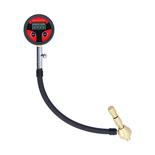 KUIDAMOS Probador de inflación de Ruedas, Pantalla LCD Digital Diseño de Interruptor de Purga Comprobador de inflación de Metal preciso Probador de inflación de automóviles para Camiones y
