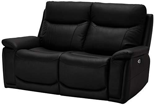 Ibbe Design Schwarz Leder 2er Sitzer Relaxsofa Couch mit Elektrisch Verstellbar Relaxfunktion Heimkino Sofa Bremen mit Fussteil, 166x99x100 cm