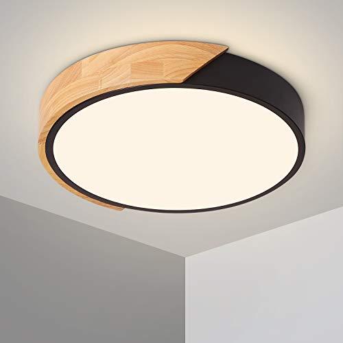 Plafonnier LED 24W Lampe Plafond avec Télécommande Luminosité Réglable Luminaire Salle de Bain Rond Ultra Mince Moderne pour Maison Bureau Chambre Salon Cuisine Balcon Couloir, Noir 30 cm