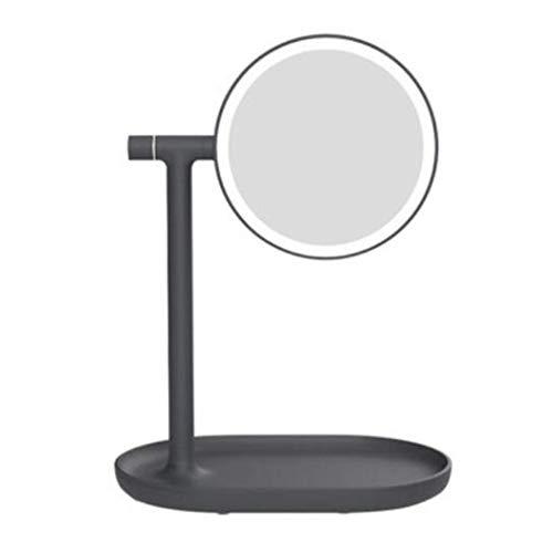 Espejo de maquillaje de maquillaje luminoso LED LED Vanity Mirror 1x / 3x Ampliación Portátil de doble cara Illuminated Baño Espejo de baño USB Carga para el viaje en casa, rosa ( Color : Black )