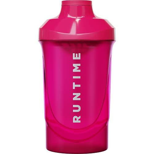 Runtime Protein-Shaker | Sport-Flasche für Nutrition und Fitness | 700ml Fassungsvermögen | mit Sieb - 100{4aa120a2f2202b43747e38fc639b26bb10e6112578db38902b45bef597388cc5} dicht | BPA-frei - inkl. Messskala (Neon Pink)
