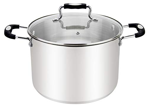 Millvado 11-Quart Stainless Steel Stockpot: Large Cooking Pot for Pasta, Soup, and Stew - Stock Pot With Clear Glass Lid - Urban Collection Mirrored Stock Pots - Induction Compatible Big Boiling Pot
