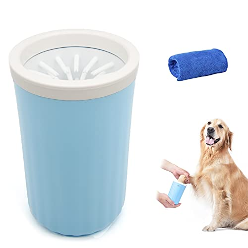 Limpiador de patas de perro,Lavadora de pies de Perro,masajeador de lavapies de perro, cepillo de cerdas de silicona suave lavapies de perro con toalla para perros, gatos, aseo de garras sucias