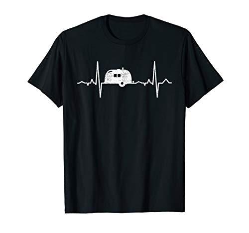 Herzschlag Camping Wohnwagen EKG Frequenz Camper Natur T-Shirt