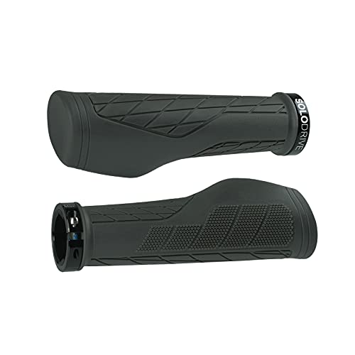 SOLODRIVE Ergonomic Design Bike Grips, Bicycle Handlebar Locking Grips, Mountain Bike Grips, Non-Slip MTB Handle Grips (Gray)