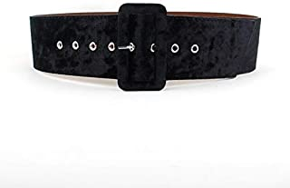 WTYD Outdoor Sports Apparel Accessories Women Velvet Face Faux Leather Wide Belt, Length: 105cm(Black) (Color : Black)