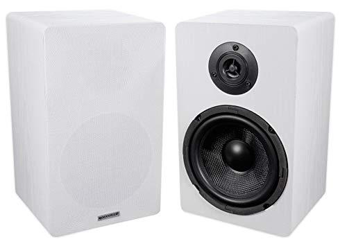 Sale!! Pair ROCKVILLE RockShelf 64W White 6.5 Home Bookshelf Speakers W/Kevlar Woofers