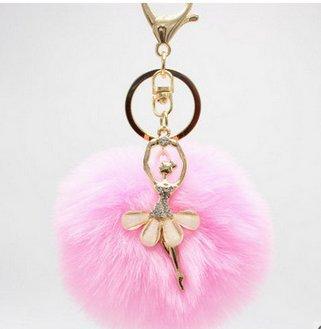 Yuhemii, portachiavi a forma di ballerina, pendaglio da borsa, ciondolo portachiavi con palla di pelo rosa