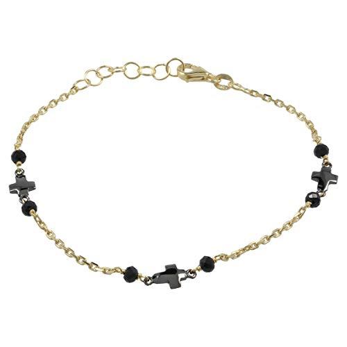 Gioiello Italiano - Gele gouden armband met gepolijste kruisjes en spinel