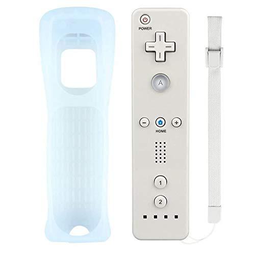 Atopoo Wii Remote Controller, contrôleur de jeu de remplacement à distance avec étui en silicone et dragonne pour Nintendo Wii et Wii U (Blanc)