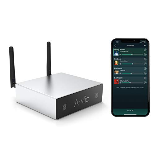 WiFi & Bluetooth Amplifier STA326 WIith 50+50W 24V DC/2.0 Stereo Channel,Airplay DLNA,Multiroom/multizone Sync, 24bit 192 kHz HiFi Audio Streaming Integrated Home amplifiers for Speakers-Arylic A50
