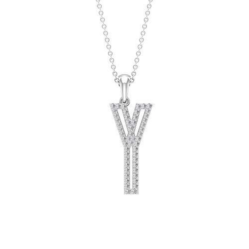 Colgante con nombre inicial de diamante de corte brillante de 1/2 ct, letra Y, unisex, collar de oro, colgante personalizado del alfabeto, regalo de aniversario,18K Oro blanco Con cadena