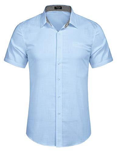 Burlady Herren Hemd Kurzarm Langarm Leinenhemd aus Baumwollmischung Kariert Sommer Freizeit Men´s Shirt (L, Hellblau)