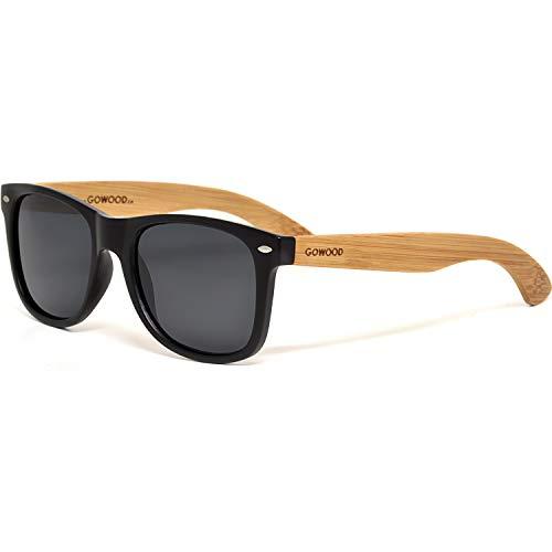 GOWOOD Gafas de sol para hombre y mujer con patillas de madera de bambú y cristales negros polarizados