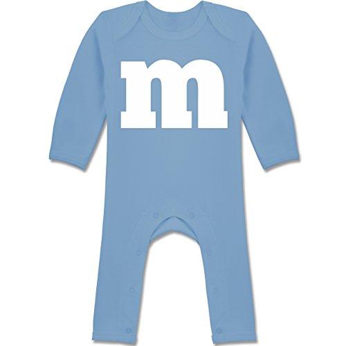 Karneval und Fasching Baby - Gruppen-Kostüm m Aufdruck - 3/6 Monate - Babyblau - Schlafanzug Partnerlook - BZ13 - Baby-Body Langarm für Jungen und Mädchen