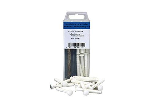 KGM Lamellenschlagdübel weiß | Schrauben Set - unauffällige Sockelleisten Montage ✓einfache Anwendung ✓40x Schlagdübel weiß ✓1x Spezialbohrer | praktisches Montage Set für weisse Fussleisten