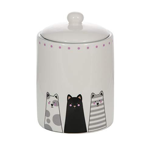 SPOTTED DOG GIFT COMPANY Keramik Vorratsdose mit Deckel, Küchen Aufbewahrungsdose, Küche Aufbewahrung, weiß mit Katzen-Motiv Geschenk für Katzenliebhaber