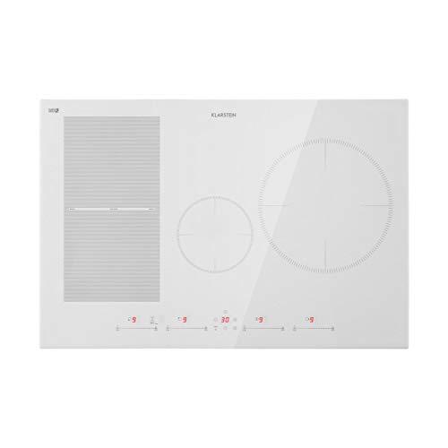 Klarstein Delicatessa Hybrid - Placa de cocina, Placa de inducción, Para empotrar, 7000 W, Panel táctil, Flexzone, Sensor de sartenes, Autoapagado, Vitrocerámica, 77 cm, 4 zonas, Blanco