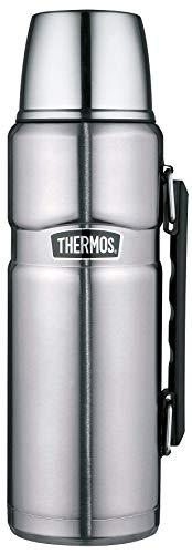 THERMOS ThermosflascheEdelstahl Stainless King, Edelstahl mattiert 1,2L, Isolierflasche mit Trinkbecher 4003.205.120 spülmaschinenfest, Thermoskanne hät 24 Stunden heiß, 24 Stunden kalt, BPA-Free