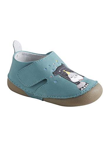 Vertbaudet Leder-Hausschuhe für Baby Jungen Aqua 26