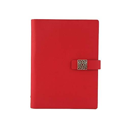 Agenda de piel recargable, tamaño A5, con hebilla magnética hueca, color rojo