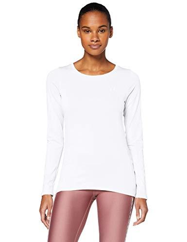 Under Armour UA HG Armour Long Sleeve, ligera camiseta deportiva, camiseta de manga larga mujer, White / Metallic Silver, M