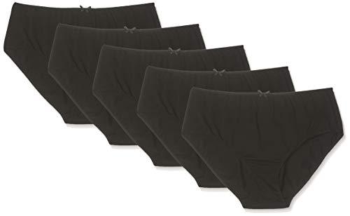Ulla Popken Damen große Größen bis 66+ | Slips im 5er-Pack | Regular Fit, Jersey | Uni Black | schwarz 66+ 710201 10-66+