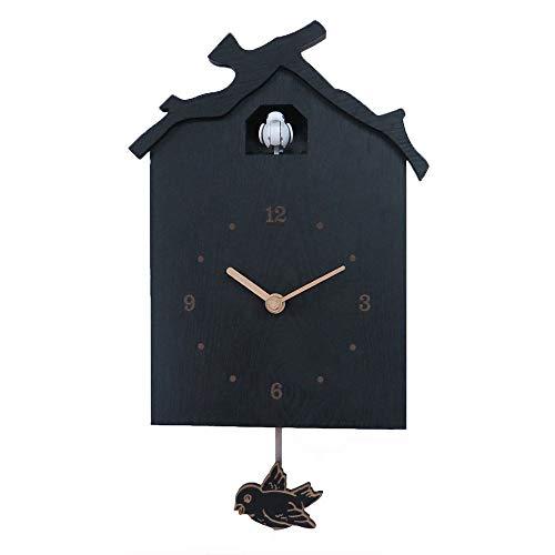 WWFF Inicio Reloj De Pared Negro Casa De Madera De Cuco 咕咕 Reloj De Pared Creativo del Reloj De Oscilación del Pájaro del Reloj De Pared 33.8 * 19.3 (cm)